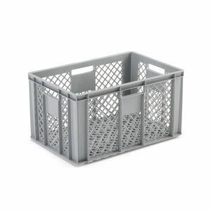 Perforovaná plastová přepravka, šedá, 600x400x320 mm