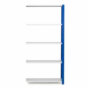 Kovový regál Mix, přídavný, 2100x1000x300 mm, modrý, šedé police