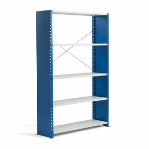 Kovový regál Mix, 2100x1300x600 mm, modrý, šedé police