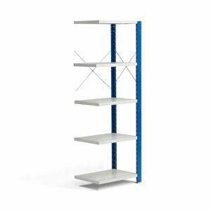 Kovový regál Mix, přídavný, 1740x600x400 mm, modrý, šedé police