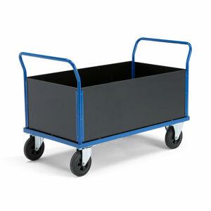 Plošinový vozík, 2 konc.rámy, bočnice, plná gum. kola, ploši