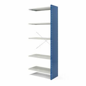 Kovový regál Mix, přídavný, 2100x800x600 mm, plné boční stěny, modrý, šedé police
