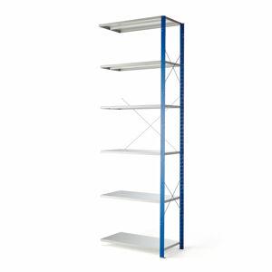 Kovový regál Mix, přídavný, 3000x1000x500 mm, modrý, šedé police