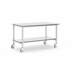 Pojízdný dílenský stůl Motion, s policí,1500x800 mm, šedá deska HPL