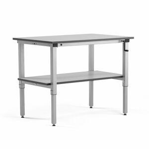 Pracovní stůl Motion, se spodní policí, 1200x800 mm, nosnost 150 kg, šedá deska HPL