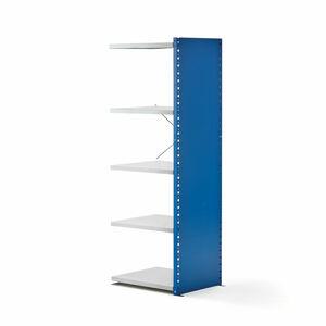 Kovový regál Mix, přídavný, 1740x600x500 mm, modrý, šedé police