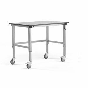 Mobilní pracovní stůl Motion, 1200x800 mm, nosnost 150 kg, šedá deska HPL