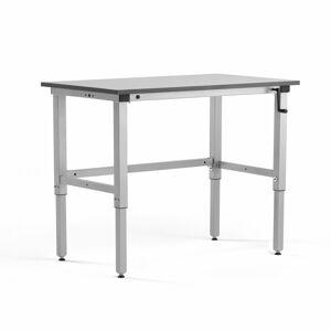 Pracovní stůl Motion, manuální zdvih, nosnost 150 kg, 1200x600 mm, šedá deska HPL