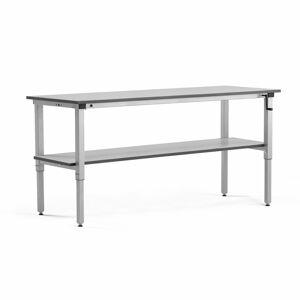 Pracovní stůl Motion, se spodní policí, manuální zdvih, nosnost 150 kg, 2000x600 mm, šedá deska HPL