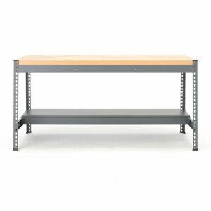 Pracovní stůl Combo, deska s dubovým povrchem, úzká spodní police