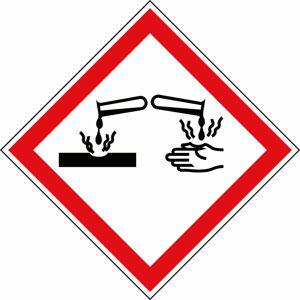 Korozivní a žíravé látky - GHS symbol, samolepicí, 100x100 mm, bal. 5 ks