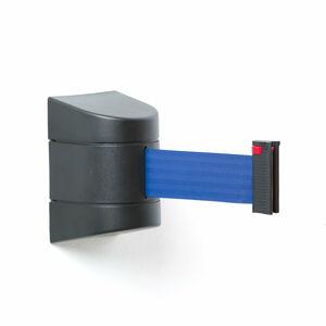 Zahrazovací pás, 9000 mm, nástěnná kazeta, černá, modrý pás