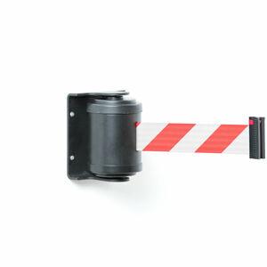 Zahrazovací pás, 180°, 4500 mm, černá, červenobílý pás