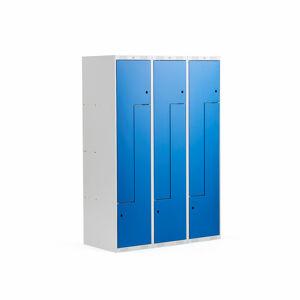 Šatní skříňky Z, 3 sekce, 6 boxů, 1800x1200x500 mm, kovové dveře, modré