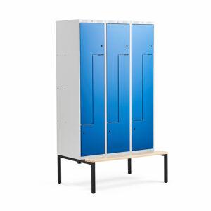 Šatní skříňka Classic Z, s lavicí, 3 sekce, 6 dveří, 2120x1200x550mm, modré dveře