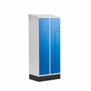 Šatní skříňka Classic Z, šikmá střecha, se soklem, 2 sekce, 4 dveře, 2050x800x550 mm, modré dveře