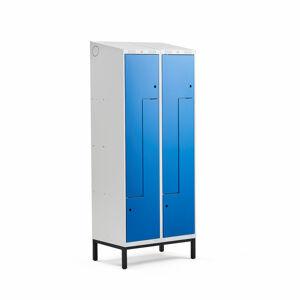 Šatní skříňka Classic Z, šikmá střecha, s nohami, 2 sekce, 4 dveře, 2100x800x550 mm, modré dveře