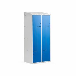 Šatní skříňka Classic Z, šikmá střecha, 2 sekce, 4 dveře, 1900x800x550 mm, modré dveře