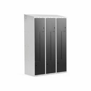 Šatní skříňka Classic Z, šikmá střecha, 3 sekce, 6 dveří, 1900x1200x550 mm, černé dveře