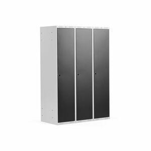 Šatní skříňka Classic, 3 sekce, 1740x1200x550 mm, šedá, černé dveře