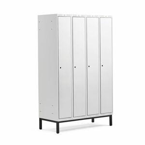 Šatní skříňka Classic, s nohami, 4 sekce, 1940x1200x550mm, šedé dveře