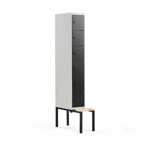 Šatní skříňka Classic, s lavicí, 1 sekce, 6 boxů, 2120x300x550mm, černé dveře