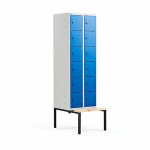 Šatní skříňka Classic, s lavicí, 2 sekce, 12 boxů, 2120x600x550mm, modré dveře