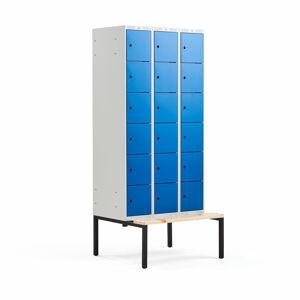 Šatní skříňka Classic, s lavicí, 3 sekce, 18 boxů, 2120x900x550mm, modré dveře