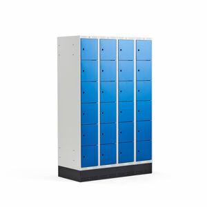 Šatní skříňka Classic, se soklem, 4 sekce, 24 boxů, 1890x1200x550mm, modré dveře