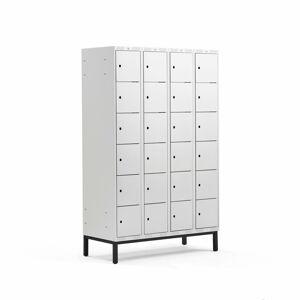 Šatní skříňka Classic, s nohami, 4 sekce, 24 boxů, 1940x1200x550mm, šedé dveře