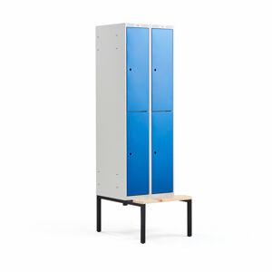 Šatní skříňka Classic, s lavicí, 2 sekce, 4 boxy, 2120x600x550mm, modré dveře