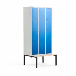 Šatní skříňka Classic, s lavicí, 3 sekce, 6 boxů, 2120x900x550mm, modré dveře