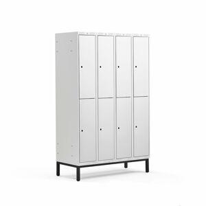 Šatní skříňka Classic, s nohami, 4 sekce, 8 boxů, 1940x1200x550mm, šedé dveře
