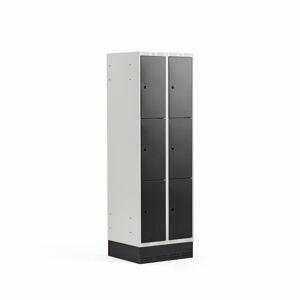Šatní skříňka Classic, se soklem, 2 sekce, 6 boxů, 1890x600x550mm, černé dveře
