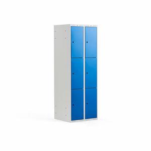 Šatní skříňka, 2 sekce, 6 boxů, 1740x600x550 mm, šedá/modrá