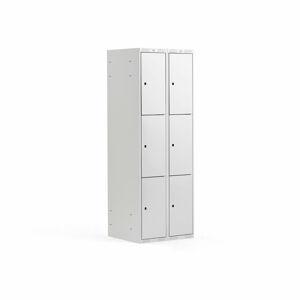 Šatní skříňka, 2 sekce, 6 boxů, 1740x600x550 mm, šedá/šedá