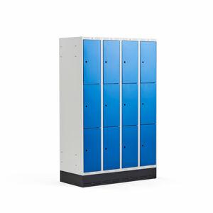Šatní skříňka Classic, se soklem, 4 sekce, 12 boxů, 1890x1200x550mm, modré dveře