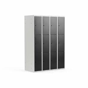 Šatní skříňka, 4 sekce, 12 boxů, V 1740 x Š 1200 x H 550 mm, šedá/černé dve
