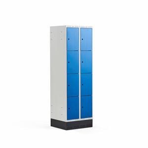 Šatní skříňka Classic, se soklem, 2 sekce, 8 boxů, 1890x600x550mm, modré dveře