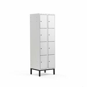 Šatní skříňka Classic, s nohami, 2 sekce, 8 boxů, 1940x600x550mm, šedé dveře