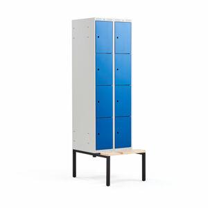 Šatní skříňka Classic, s lavicí, 2 sekce, 8 boxů, 2120x600x550mm, modré dveře