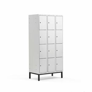 Šatní skříňka Classic, s nohami, 3 sekce, 12 boxů, 1940x900x550mm, šedé dveře