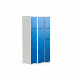 Šatní skříňka, 3 sekce, 12 boxů, 1740x900x550 mm, šedá/modrá