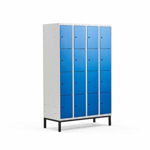 Šatní skříňka Classic, s nohami, 4 sekce, 16 boxů, 1940x1200x550mm, modré dveře
