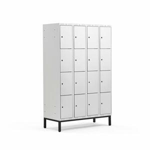 Šatní skříňka Classic, s nohami, 4 sekce, 16 boxů, 1940x1200x550mm, šedé dveře