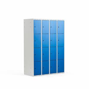 Šatní skříňka, 4 sekce, 16 boxů, 1740x1200x550 mm, šedá/modrá