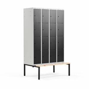 Šatní skříňka Classic, s lavicí, 4 sekce, 16 boxů, 2120x1200x550mm, černé dveře