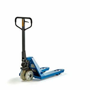 Paletový vozík, 2200 kg, 810 mm, modrý, kola nylonová/jednoduchá