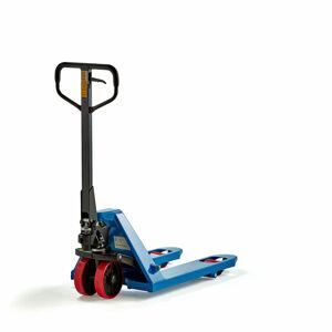 Paletový vozík, 2200 kg, 810 mm, modrý, kola PU/jednoduchá