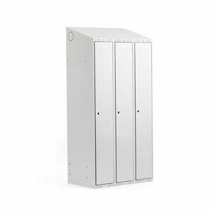 Šatní skříňka Classic, šikmá střecha, 3 sekce, Š 900 mm, šedá, šedé dveře